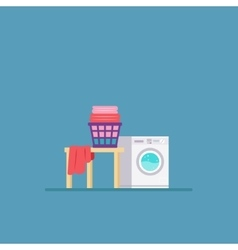 Laundry room with washing machine and dryer flat vector