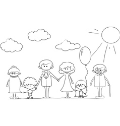 Cartoon family outline vector