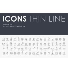 Technology thin line icons vector
