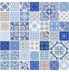 Indigo seamless patchwork pattern tiles vector