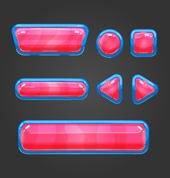 Set red button in cartoon style vector