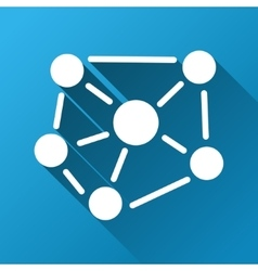 Social Graph Gradient Square Icon vector image