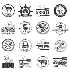 Set of seafood labels and butcher shop labels vector