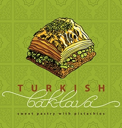 Turkish baklava sweet pastry 2 vector