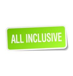 All inclusive green square sticker on white vector