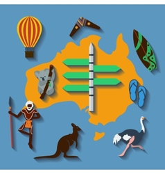 Australia travel flat color vector