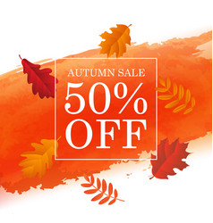 autumn sale poster with orange blot and autumn vector image vector image