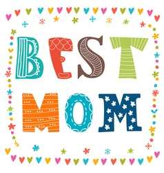 Best mom postcard cute greeting card background vector