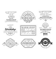 Best wood workshop set of black and white emblems vector