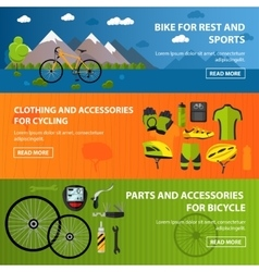 Bicycles accessories banners Sport concept vector image vector image
