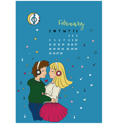 calendar for the month of february 2018 vector image