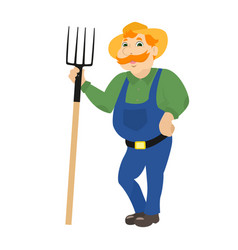Cartoon farmer standing with pitchforks vector