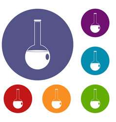 Chemical beaker icons set vector