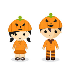 Couple standing wear a pumpkin hat on halloween vector