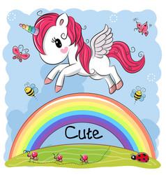 cute cartoon unicorn and rainbow vector image