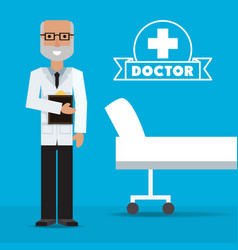 Doctor with medical analysis prescription vector