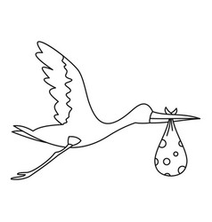 Flying stork with baby icon outline style vector