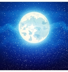 Full moon close up and around the stars vector