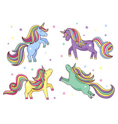 funny cartoon unicorn set vector image