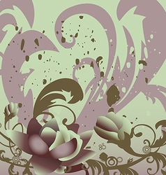 Grunge background with roses leaves horizontal vector