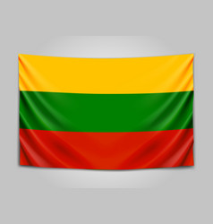Hanging flag of lithuania republic of lithuania vector