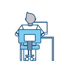 man working at computer icon vector image