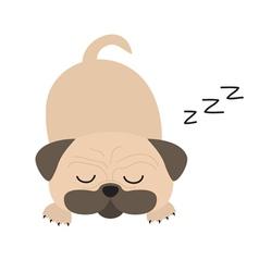 Mops pug dog Cute cartoon character Flat design vector image