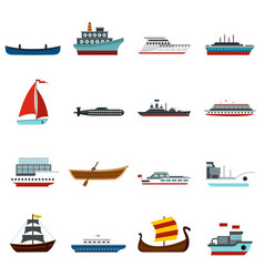 sea transport set flat icons vector image