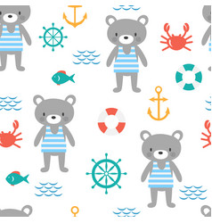 Seamless pattern with cute little bear sailor vector