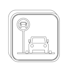 Silhouette button parking area for vehicles vector