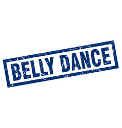Square grunge blue belly dance stamp vector