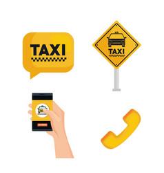 taxi service set transport order internet elements vector image