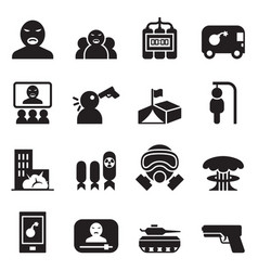 terrorist killer assassin icons set vector image vector image