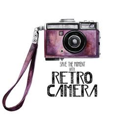 Watercolor vintage retro camera vector