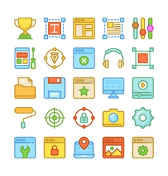 Web Design and Development Colored Icons 6 vector image vector image