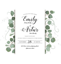 Wedding floral invite card with eucalyptus leaves vector