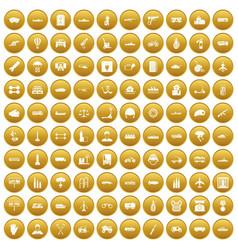 100 burden icons set gold vector