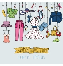 Summer fashion setwoman colored wear hanging on vector