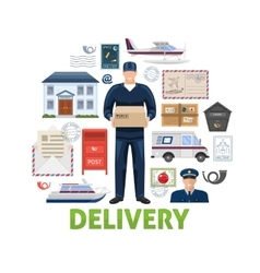Postal delivery elements set vector