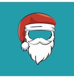 Mustache beard hat santa claus vector