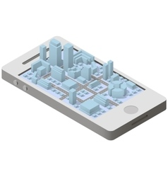 City plan isometric on smartphone vector