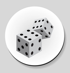 dice sticker icon flat style vector image
