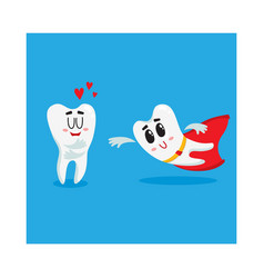 Two funny tooth characters one as superhero vector