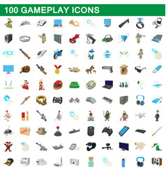 100 gameplay icons set cartoon style vector image