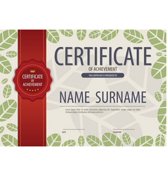 Certified green leaves natural concept border vector