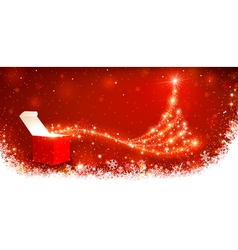 Christmas background with magic box vector