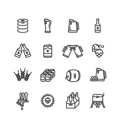 Beer alcohol drinks line icons vector