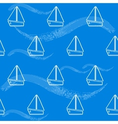 Seamless pattern with boats and waves vector