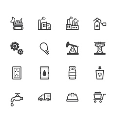 Factory element black icon set on white background vector