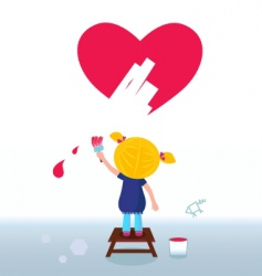 Kid painting heart on wall vector